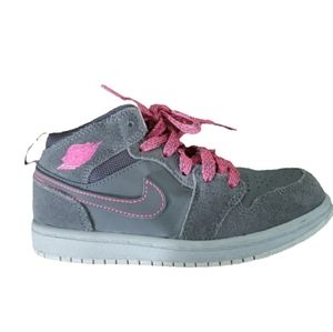 Nike Air Jordan 1 Mid Hyper Pink and Gray - Girls